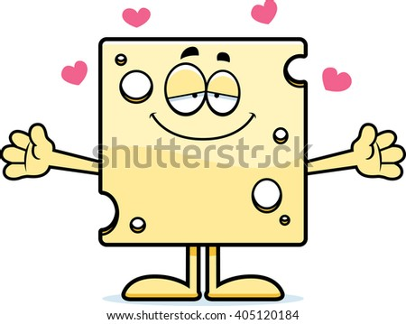 A cartoon illustration of a slice of Swiss cheese ready to give a hug.