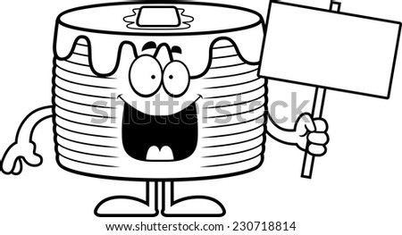 A cartoon illustration of a stack of pancakes holding a sign.