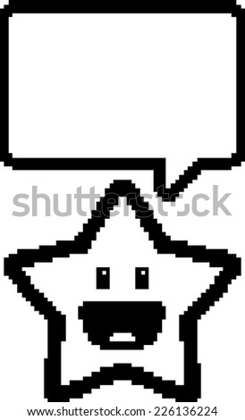 A cartoon illustration of a star in an 8-bit graphic style. - stock vector