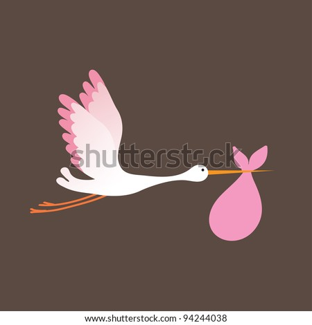 A cartoon illustration of a stork delivering a newborn baby girl - stock vector