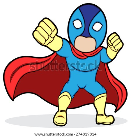A cartoon illustration of a superhero