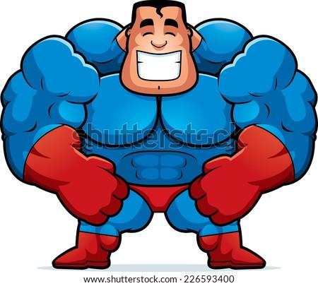 A cartoon illustration of a superhero flexing. - stock vector