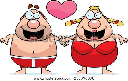 A cartoon illustration of a swimsuit couple holding hands and in love. - stock vector
