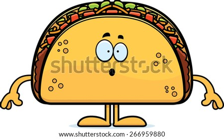 A cartoon illustration of a taco looking surprised. - stock vector