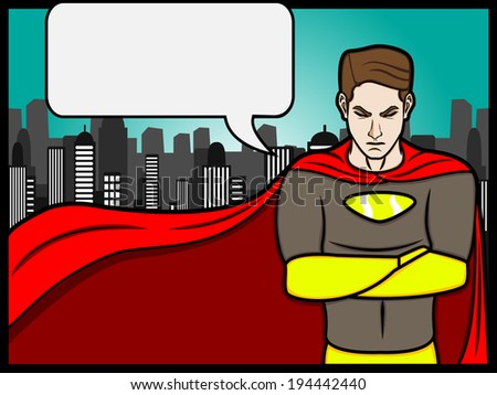 A cartoon illustration of a talking superheroes  - stock vector