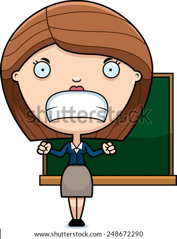A cartoon illustration of a teacher looking angry. - stock vector