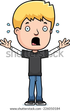 A cartoon illustration of a teenage boy looking scared. - stock vector