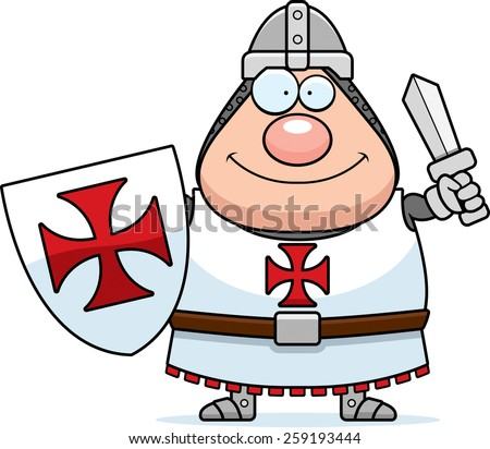 A cartoon illustration of a Templar knight looking happy. - stock vector