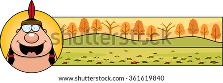 A cartoon illustration of a Thanksgiving graphic with an Indian. - stock vector