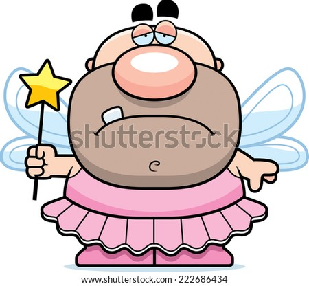 A cartoon illustration of a tooth fairy looking sad. - stock vector