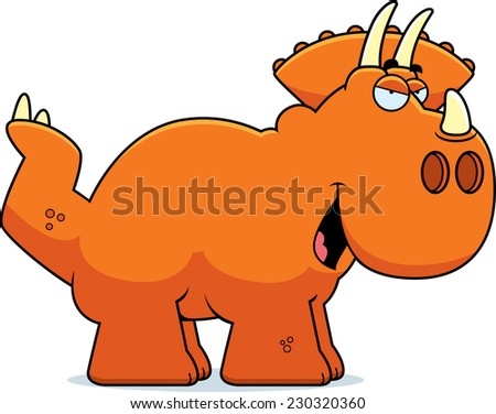 A cartoon illustration of a Triceratops dinosaur with a sly expression. - stock vector