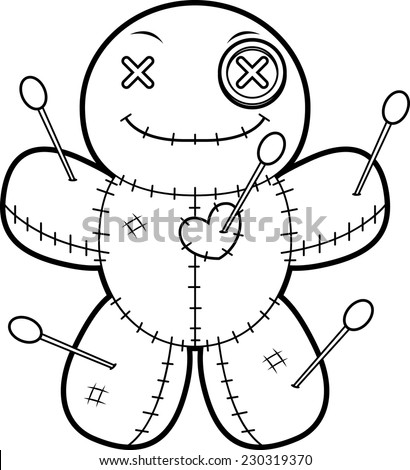 A cartoon illustration of a voodoo doll looking happy. - stock vector
