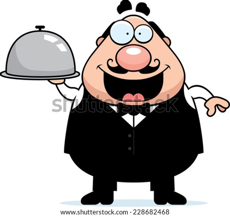 A cartoon illustration of a waiter with a serving tray. - stock vector