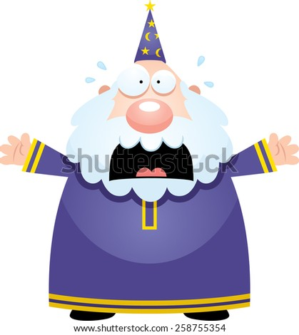 A cartoon illustration of a wizard looking scared. - stock vector