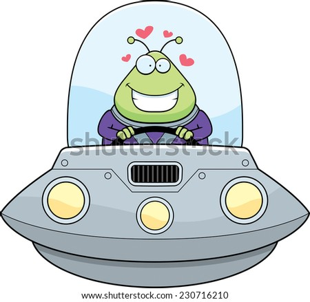 A cartoon illustration of an alien in a UFO in love. - stock vector