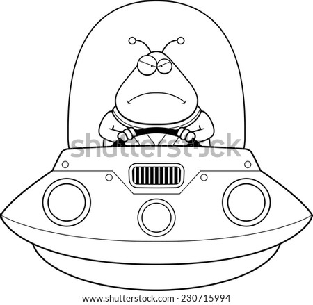 A cartoon illustration of an alien in a UFO looking angry. - stock vector