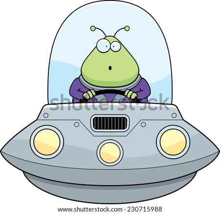 A cartoon illustration of an alien in a UFO looking surprised. - stock vector
