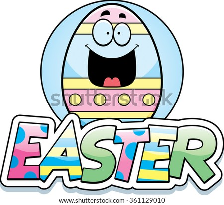 A cartoon illustration of an Easter egg in an Easter themed graphic. - stock vector
