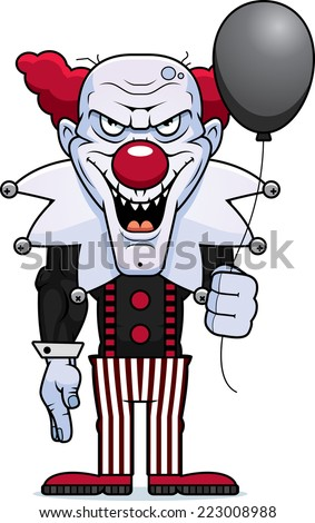A cartoon illustration of an evil looking clown with a balloon. - stock vector