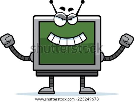 A cartoon illustration of an evil looking computer monitor robot. - stock vector