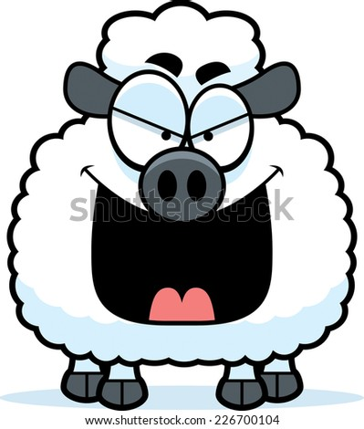 A cartoon illustration of an evil looking lamb.