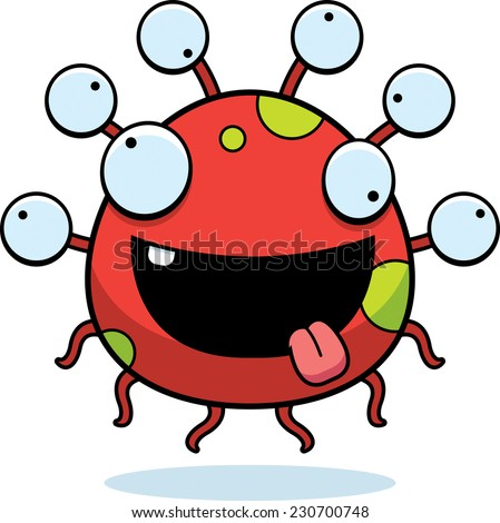 A cartoon illustration of an eyeball monster looking crazy. - stock vector
