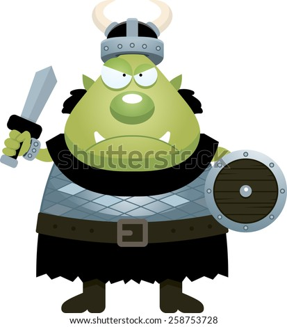 A cartoon illustration of an orc looking angry. - stock vector
