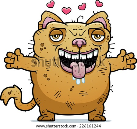 A cartoon illustration of an ugly cat ready to give a hug.