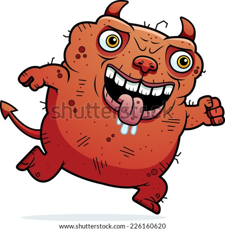 A cartoon illustration of an ugly devil running.