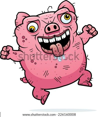 A cartoon illustration of an ugly pig looking crazy. - stock vector