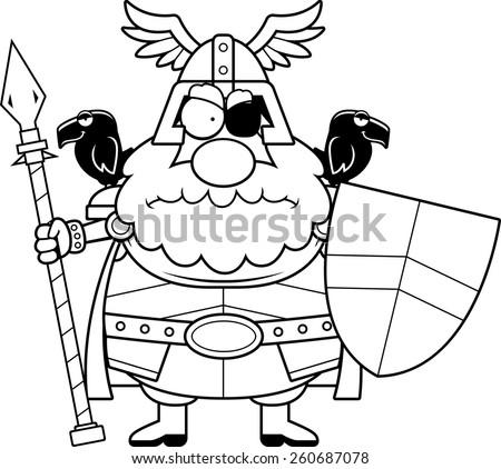 A cartoon illustration of Odin looking angry. - stock vector