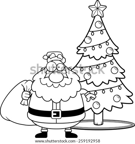 A cartoon illustration of Santa Claus with a Christmas tree. - stock vector