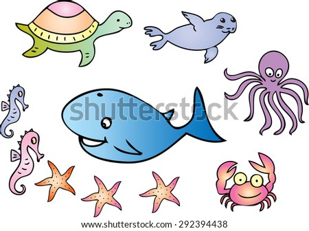 A cartoon illustration of several sea creatures including seahorse,whale,turtle,seal,octopus,crab and starfish.