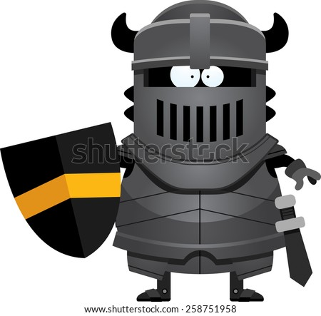 A cartoon illustration of the black knight standing.