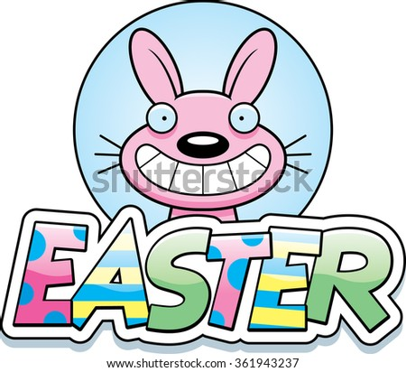 A cartoon illustration of the Easter Bunny in an Easter themed graphic.