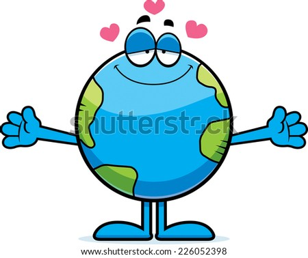 A cartoon illustration of the planet Earth ready to give a hug. - stock vector