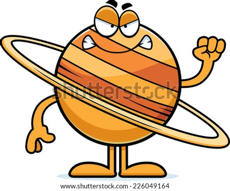 A cartoon illustration of the planet Saturn looking angry.