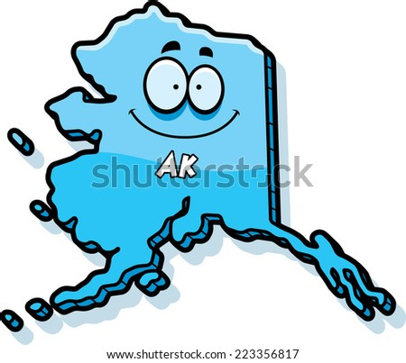A cartoon illustration of the state of Alaska smiling.