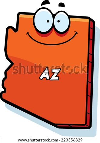 Cartoon Illustration State Arizona Smiling Stock Vector Royalty