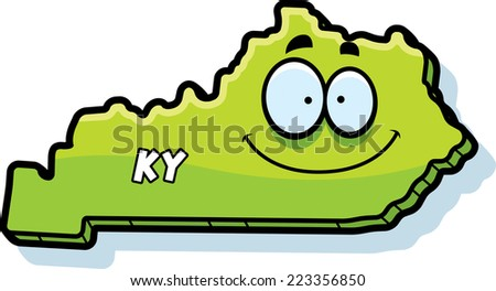 A cartoon illustration of the state of Kentucky smiling. - stock vector