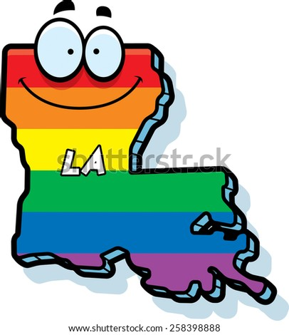 A cartoon illustration of the state of Louisiana smiling with rainbow flag colors.