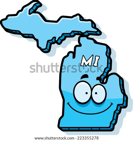 A cartoon illustration of the state of Michigan smiling. - stock vector