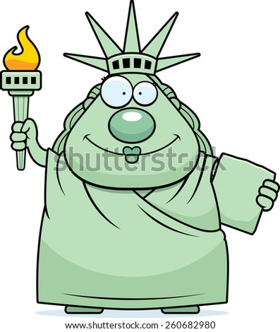 A cartoon illustration of the Statue of Liberty looking happy. - stock vector