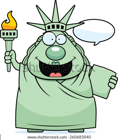 A cartoon illustration of the Statue of Liberty talking. - stock vector