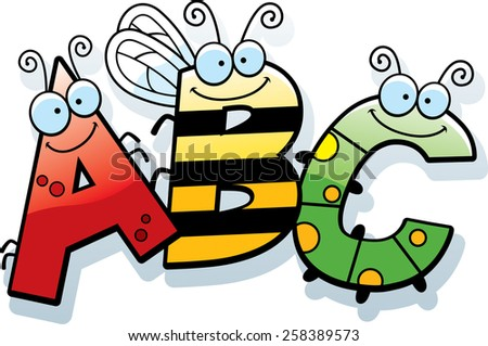 A cartoon illustration of the text ABC with an insect theme.