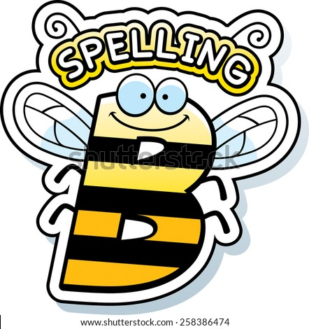 A cartoon illustration of the text Spelling B with a bee theme. - stock vector