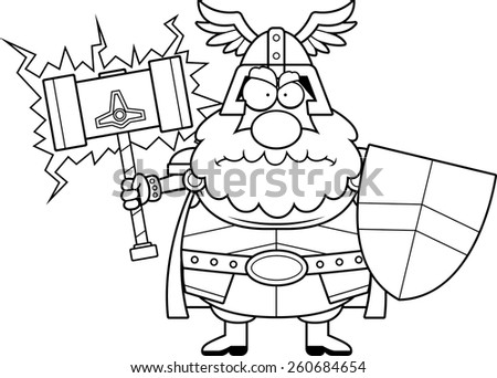 A cartoon illustration of Thor looking angry. - stock vector