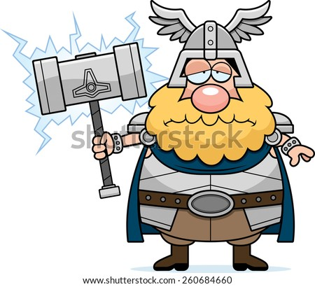 A cartoon illustration of Thor looking sad. - stock vector