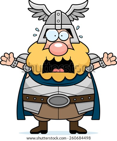 A cartoon illustration of Thor looking scared. - stock vector