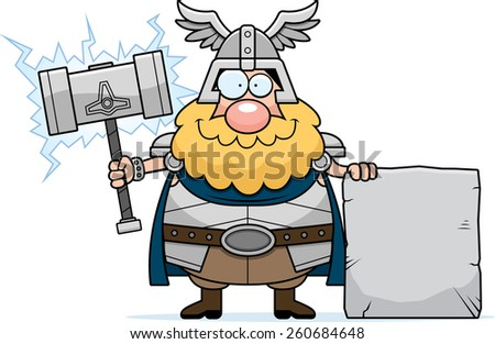 A cartoon illustration of Thor with a sign. - stock vector